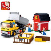Sluban 0552 384Pcs Engineering Dumper Truck Model Building Blocks Bricks Early Children Christmas Gift Kid Set