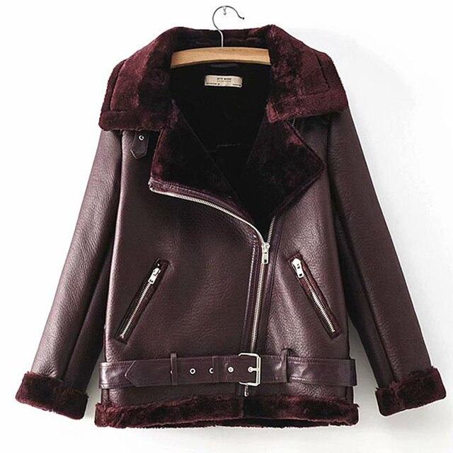 Warm women's winter motorcycle velvet jacket female short 4