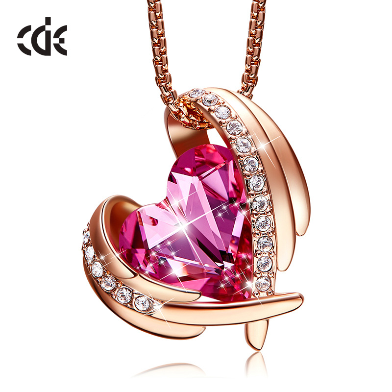 CDE Rose Gold Pink Angel Pendant Necklaces Girls Embellished with crystals from Swarovski Necklace Coronary heart Pendant Nice Jewellery Necklaces, Low cost Necklaces, CDE Rose Gold Pink Angel Pendant...