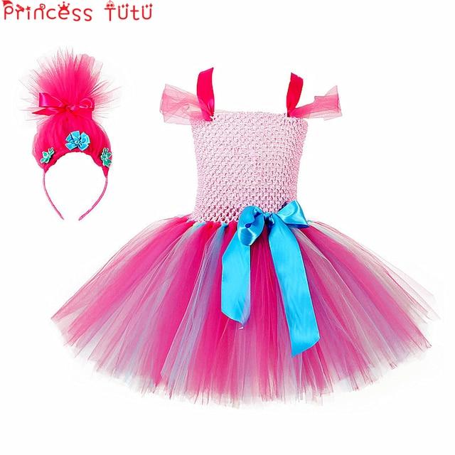 5f0f27088 € 19.85 |Princesa niños bebé niña ropa Trolls fiesta vestido diademas Set  Halloween Cosplay Trolls disfraz niñas tutú vestidos W137 en Vestidos ...