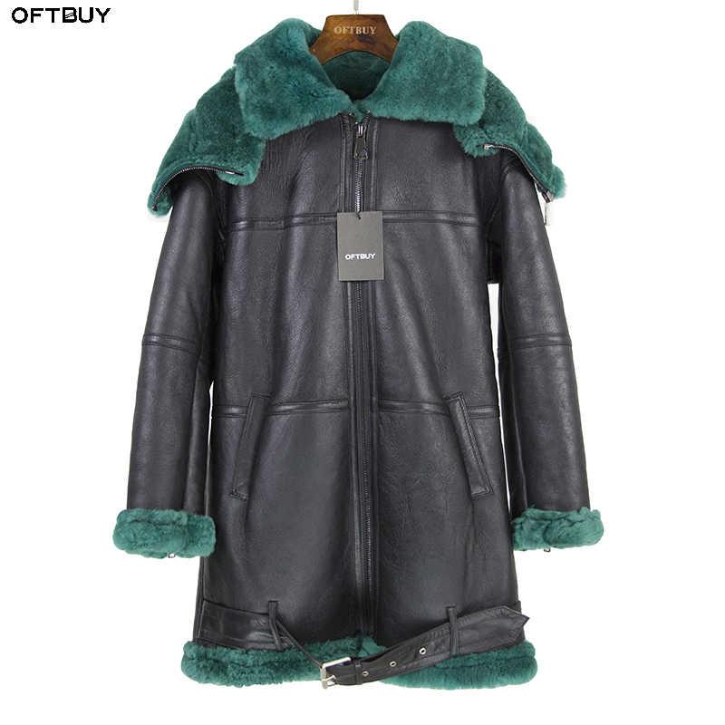 2018 двусторонний меховая верхняя одежда зимняя куртка Для женщин Длинная  парка из натуральной кожи овец- 930379b9bc9