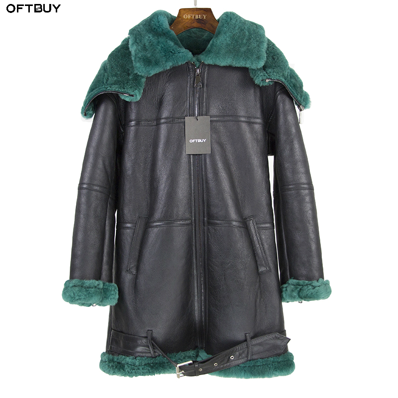 2019 Double-faced Fur Outerwear Winter Jacket Women Long Parka Genuine Leather Merino Sheep Real Fur Coat Hood Streetwear New