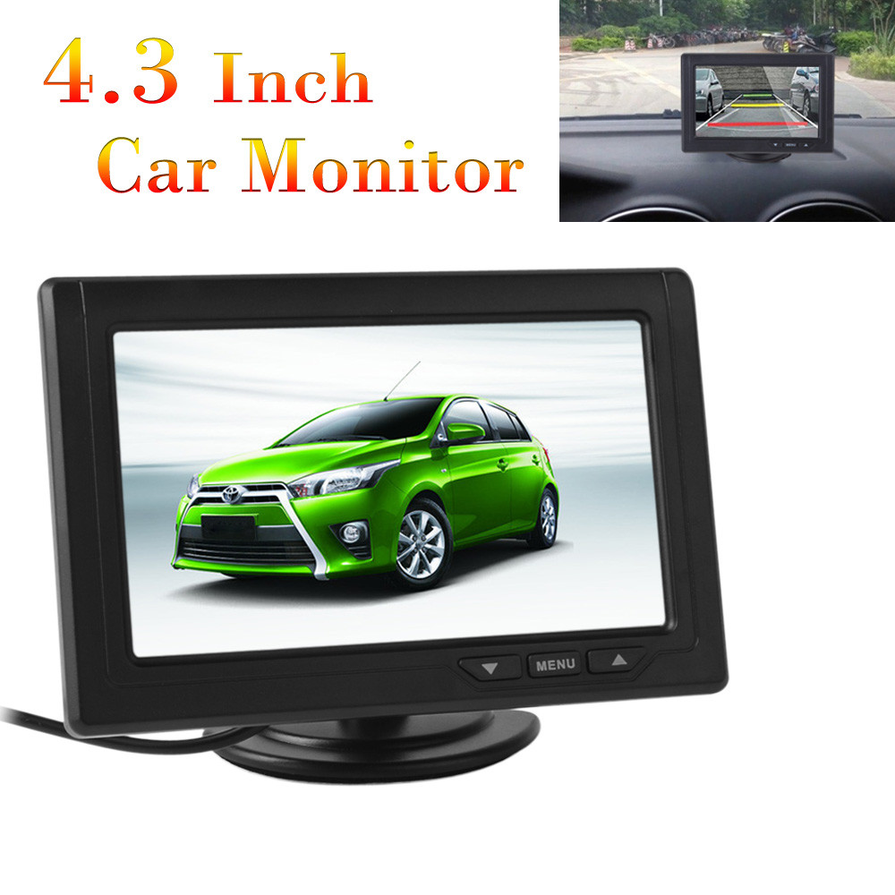 4.3 Inch Digital Color TFT LCD 480 x 272 2 Way Video Input Car Rearview Moniter for Car Rear View Backup Reverse Camera 1 7 lcd car digital clock random color 2 x lr41