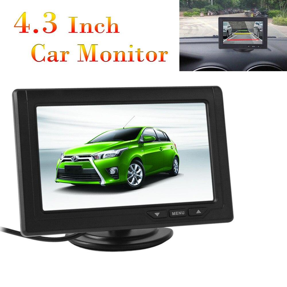 Новый 4.3 дюймов автомобиля Мониторы TFT ЖК-дисплей 480x272 16:9 Экран 2 способ видео Вход для заднего вида обратный Камера