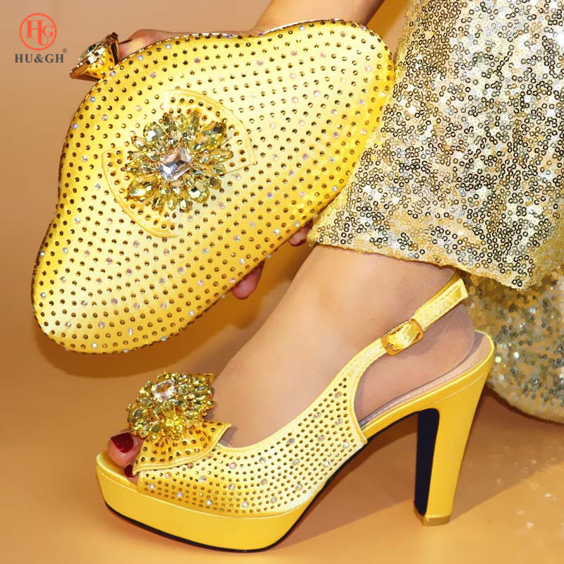 New Fashion Italian Shoes with Matching Bags Set Gold Color High Heel Sandal Women Summer Shoes