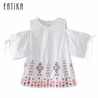 FATIKA 2017 Womens Tops And Blouses New Floral O Neck Off Shoulder Lace Up Sleeve Summer