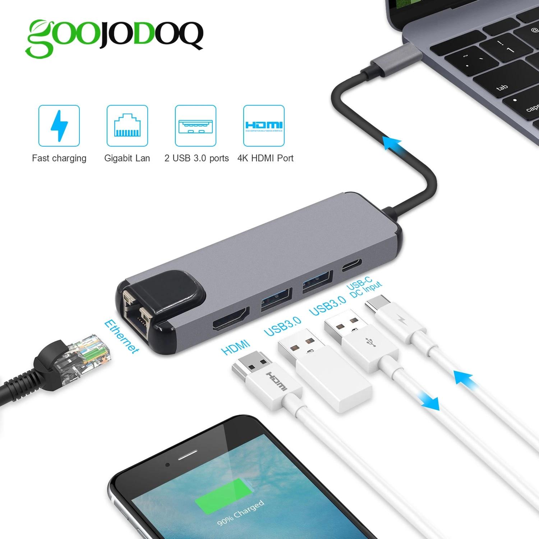 5 in 1 USB Type C Hub Hdmi 4K USB C Hub to Gigabit Ethernet Rj45 LAN Adapter for Mac Book Pro Thunderbolt 3 USB-C Charger,bb,B