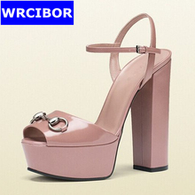 2017 NEW Woman Pumps PU leather Peep toe sandals High-heeled shoes Lady fashion Thick heels Platform Mary Janes Pumps women