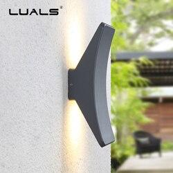 Nowoczesne proste kinkiet sztuki ściany kinkiety lampy na zewnątrz wodoodporny naścienne oświetlenie ogrodowe luksusowy dom oświetlenie LED kreatywność łuku ganek światła