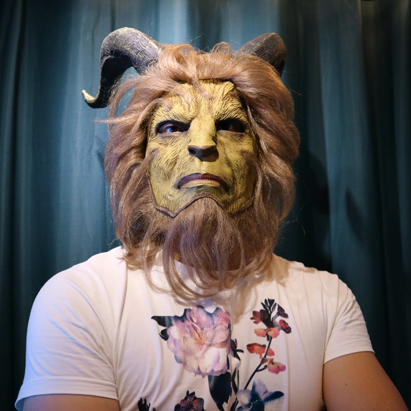 2017 Hot Movie Beauty and the Beast Adam Prince Mask Cosplay Horror Latex Lion Helmet Halloween Party Prop
