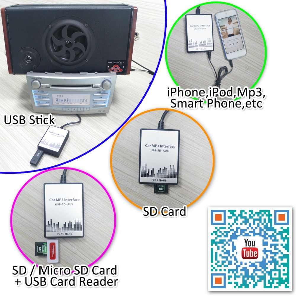 Автомобиль OEM радио SD карта USB AUX 3,5 мм Джек адаптер Mp3 музыка Интерфейс 12pin для Ford Европа Версия Пума 1998-2004