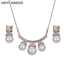jiayijiaduo African Wedding jewelry set Gold-color imitation pearl necklace earrings beautiful For women fashion accessories(China)