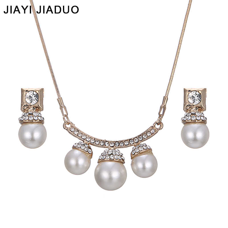jiayijiaduo African  Wedding jewelry set Gold-color imitation pearl necklace earrings beautiful For women  fashion accessories