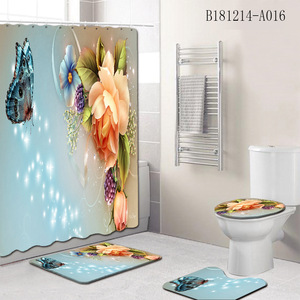 Image 2 - 4Pcs/Set Elegant Flowers Pattern Shower Curtain Mat Set Non Slip Rugs Carpet for Bathroom Toilet Bath