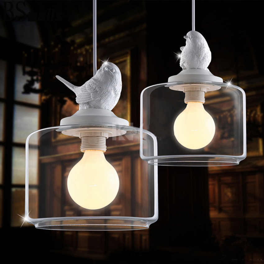 LukLoy LED 1Head Resin Glass Bird Pendant Light Creative Personality Pendant Light for Living Room Dining Room Study Bedroom Bar bried led aluminum acryl pendant light for office dining room ruler creative jane pendant light 110 220v 34 60 90 120cm 1759