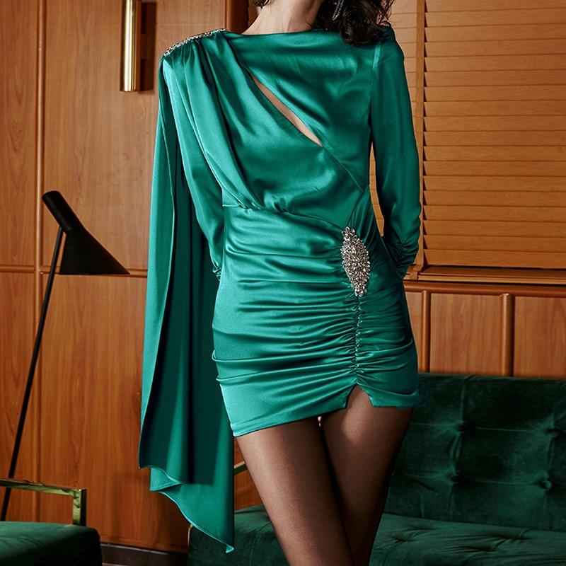 Robe formelle élégante robes formelles vertes 2019 Satin volants perlé saoudien arabe robe de soirée Mini Abendkleider