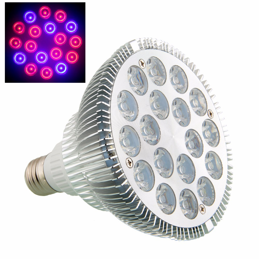 E27 LED Grow lights 54W 12Red 6 Blue LED Grow lamp bulb for Flower plant Hydroponics