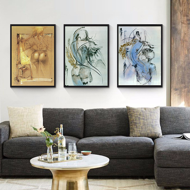 Triptych Pop Art Painting Canvas Abstract Figure Paintings ...