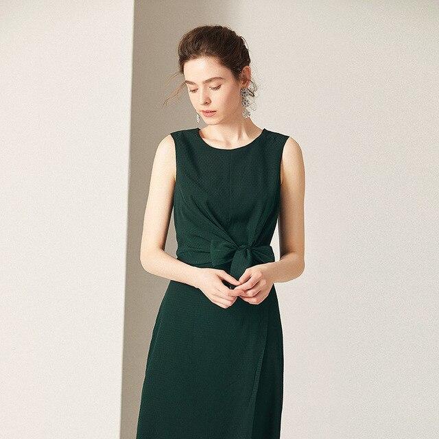 Solid Colour Sleeveless Dress Summer O-Neck Vintage Dresses Elegant 2019 Spring New Fashion Solid Color Dress Casual