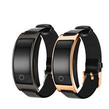Фустер CK11S Фитнес умный Браслет Bluetooth 4.0 совместим с Android и IOS с сердечного ритма кожаный ремешок Smart Band