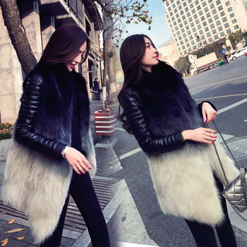 Fur jacket women's medium and long fashion spring and winter clothes 2019 new Korean version of loose fashion fox fur vest jacke