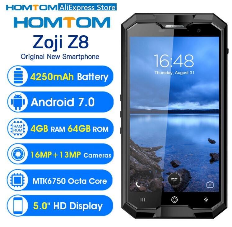HOMTOM зоджи Z8 4 ГБ 64 ГБ MT6750 восьмиядерный смартфон 5,0 дюймов 16MP + 13MP Cam Android 7,0 4250 мАч OTG отпечатков пальцев IP68 Водонепроницаемый