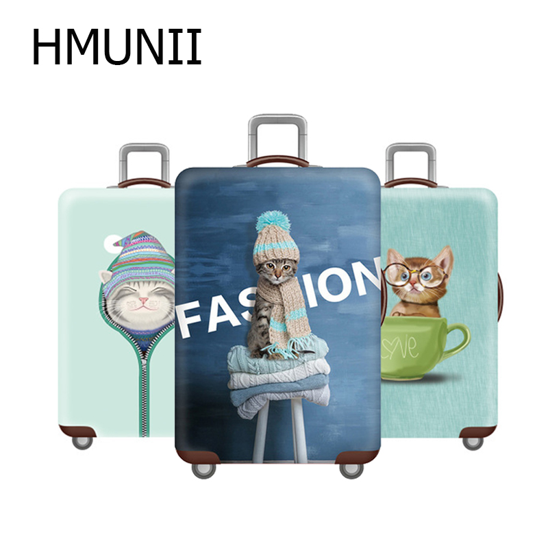 HMUNII Elastic Travel Luggage Cover Dustproof Protective Travel Suitcase Cover For 18-32 Inch Trolley Bag Luggage Accessories