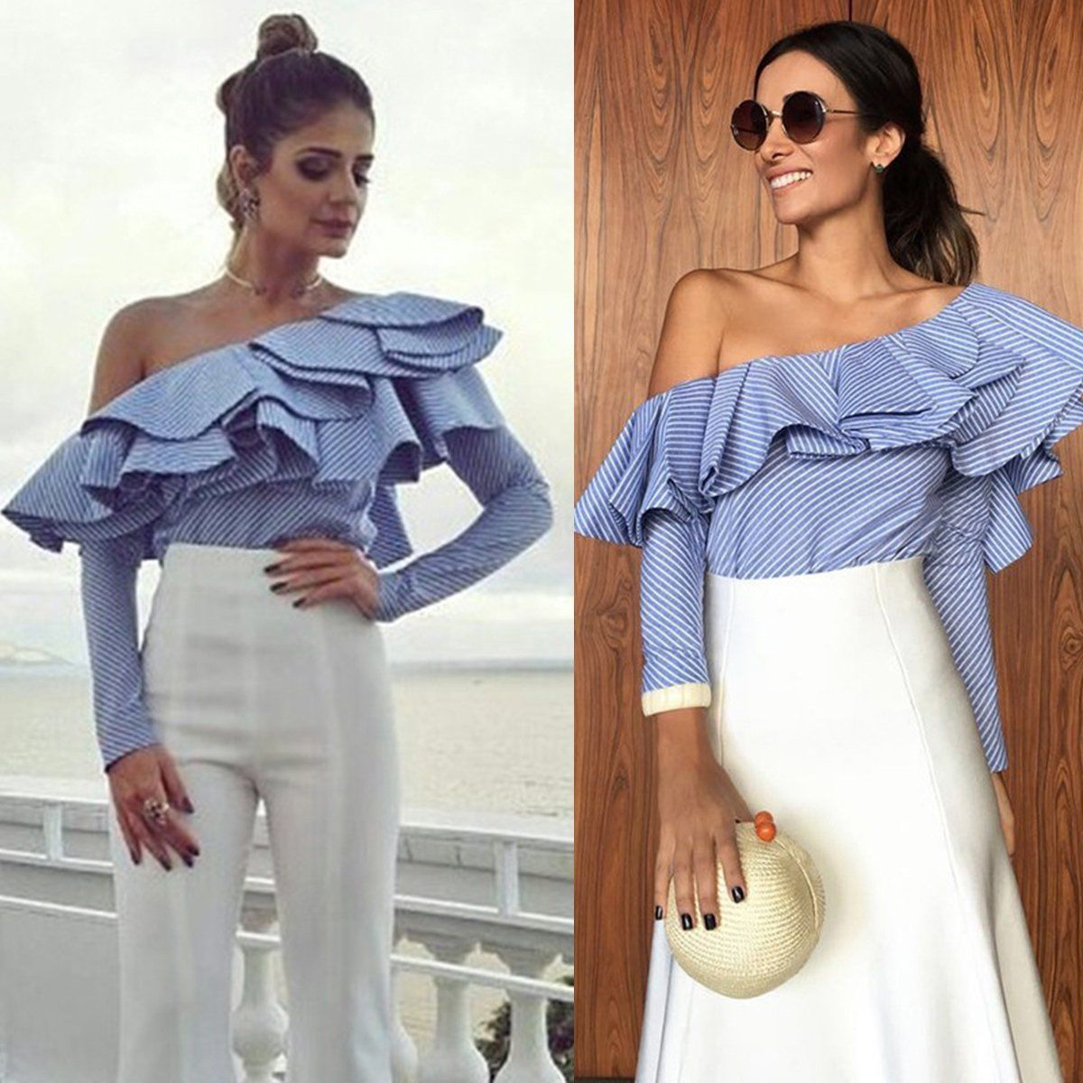 Fashion Womens Blue White Striped One Shoulder Blouse Ruffles Long Sleeve Casual Women's Shirt Blouses Top Plus Size S To 2XL