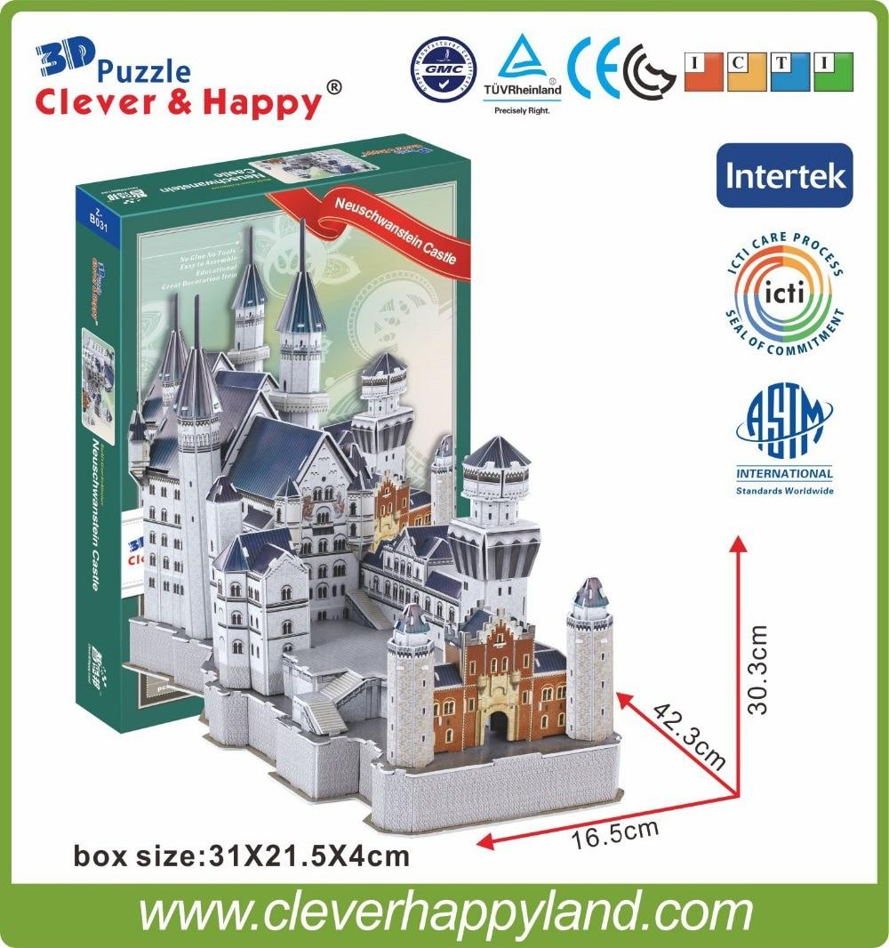 noul teren inteligent și fericit 3d model de puzzle Neuschwanstein Castle puzzle de puzzle pentru adulți puzzle diy hârtie cadouri prietena pentru hârtie băiat