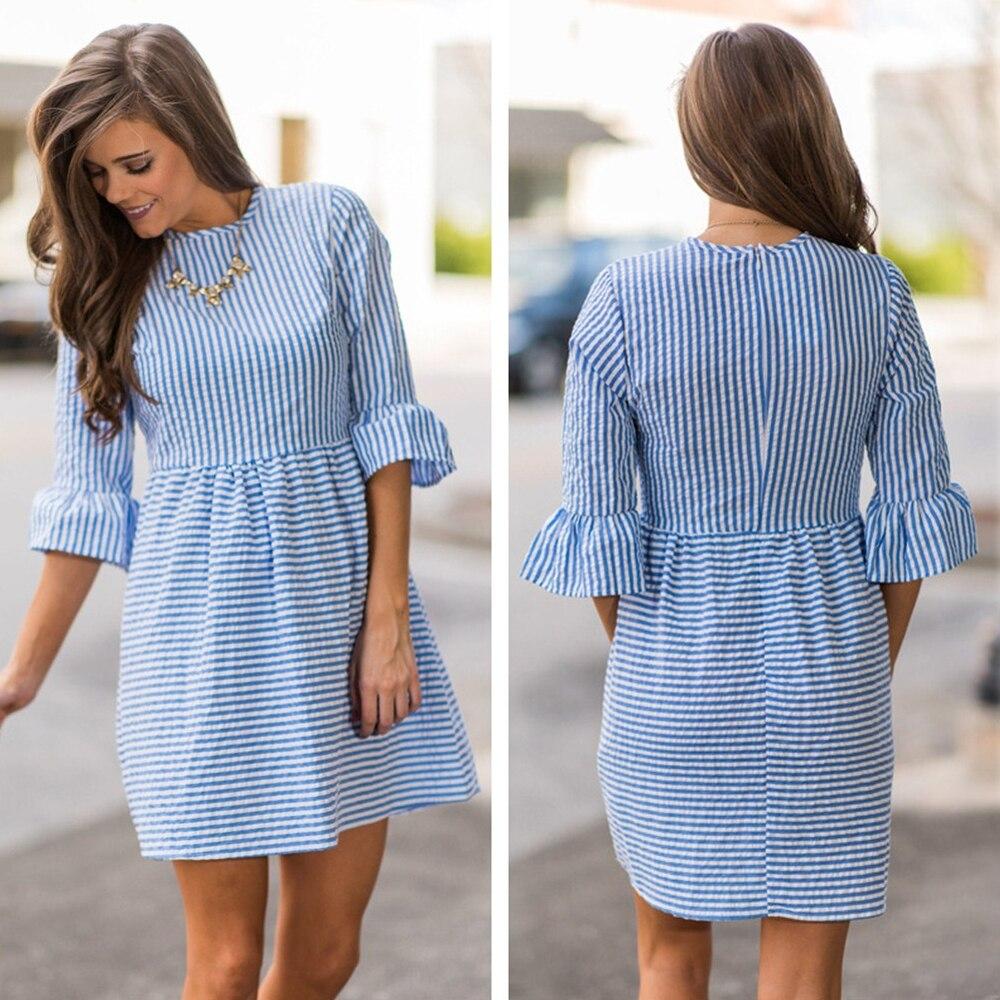 Blauw gestreepte jurk