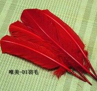 Gros 100 pcs 25 - 30 cm rouge couleur véritables plumes de dinde naturelles plumes cheveux extensions plume d'oie