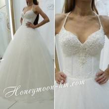 Free Shipping Wonderful High Quality Ball Gown Puffy V Neck Sweep Train Tulle Unique Wedding Dresses With Beadings MF424