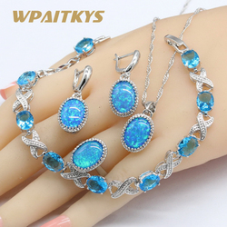 925 Silver Oval Australia Blue Opal Jewelry Sets For Women Necklace Pendant Earrings Rings Sky Blue Crystal Bracelets