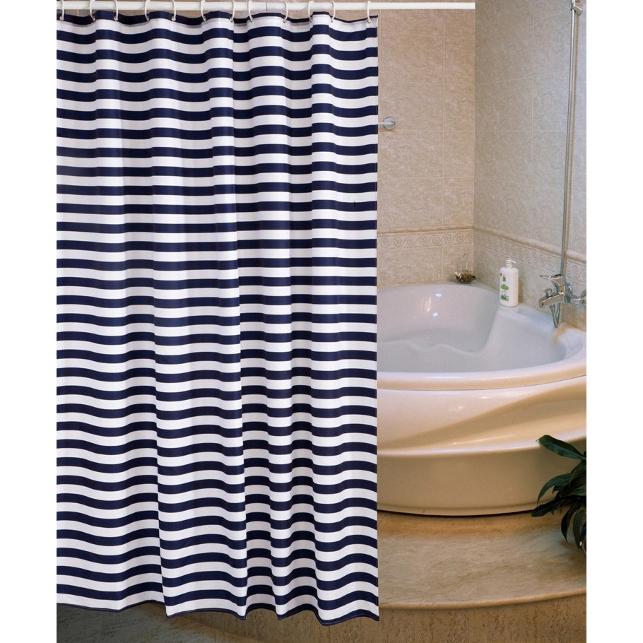 Blue bathroom curtains - Shower Curtain Polyester Fabric Navy Style Shower Curtain Blue White Striped Bathroom Curtain Cortinas Cortina Ducha