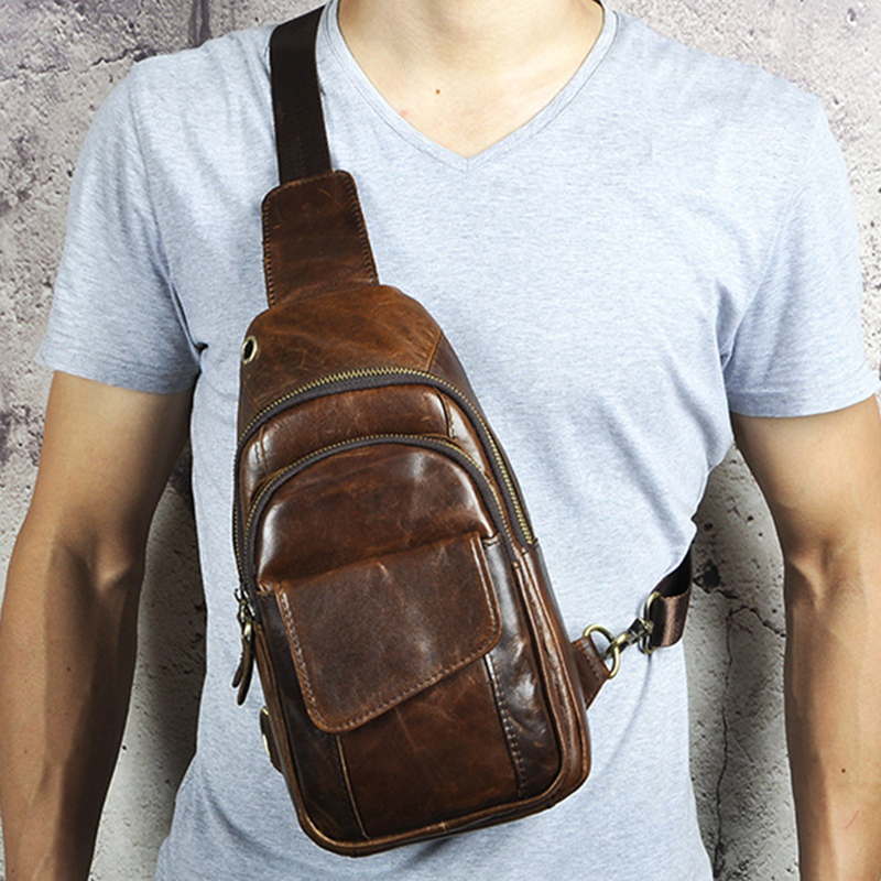Crazy Horse Cowhide Messenger Chest Bags Shoulder Rucksack Cross Body Multi Pockets Genuine Leather Bag Men