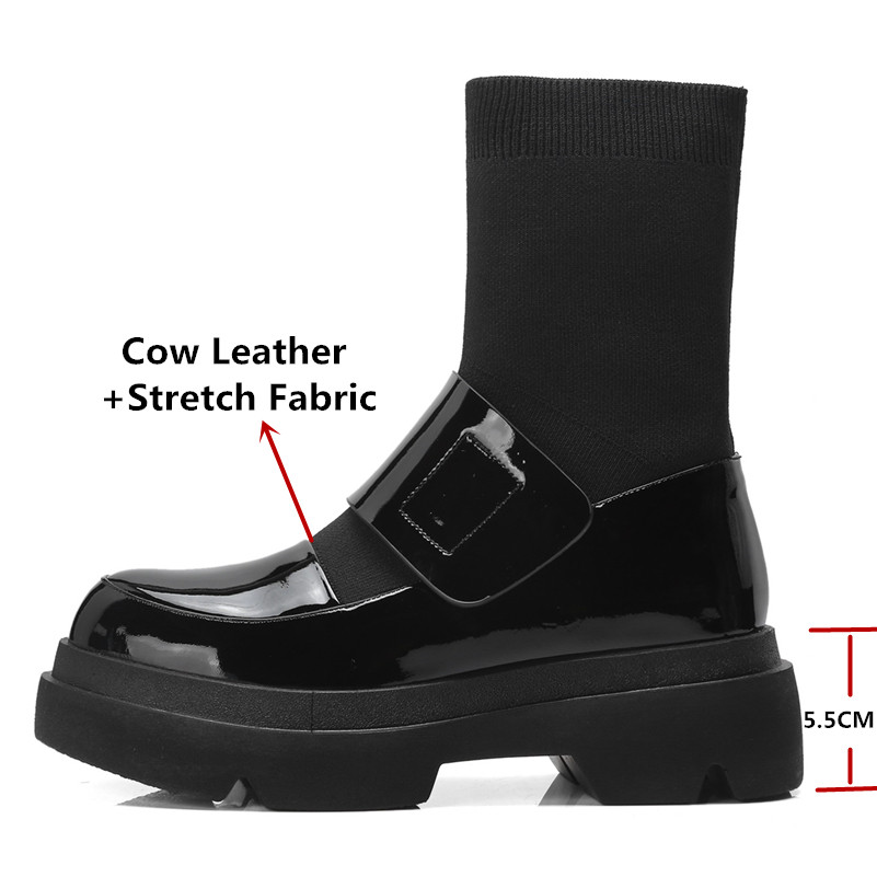 FEDONAS New Women Mid-Calf Boots Autumn Winter Warm High Heels Shoes Woman Genuine Leather Casual Quality Brand Stretch Boots