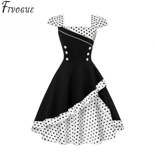 53f58cccfb Summer Dress 2018 Cute Pin Up Vintage Retro 50S 60S Elegant Women Polka Dot  Printed Short