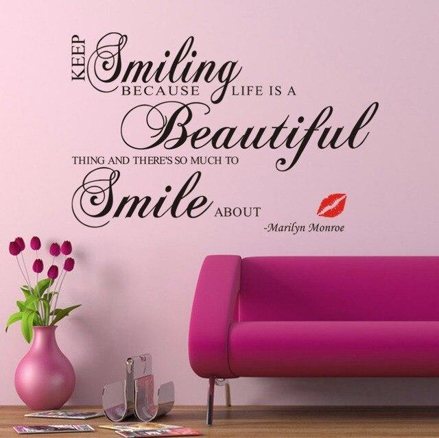 Aliexpresscom Buy Keep Smiling Marilyn Monroe Wall Art Quotes