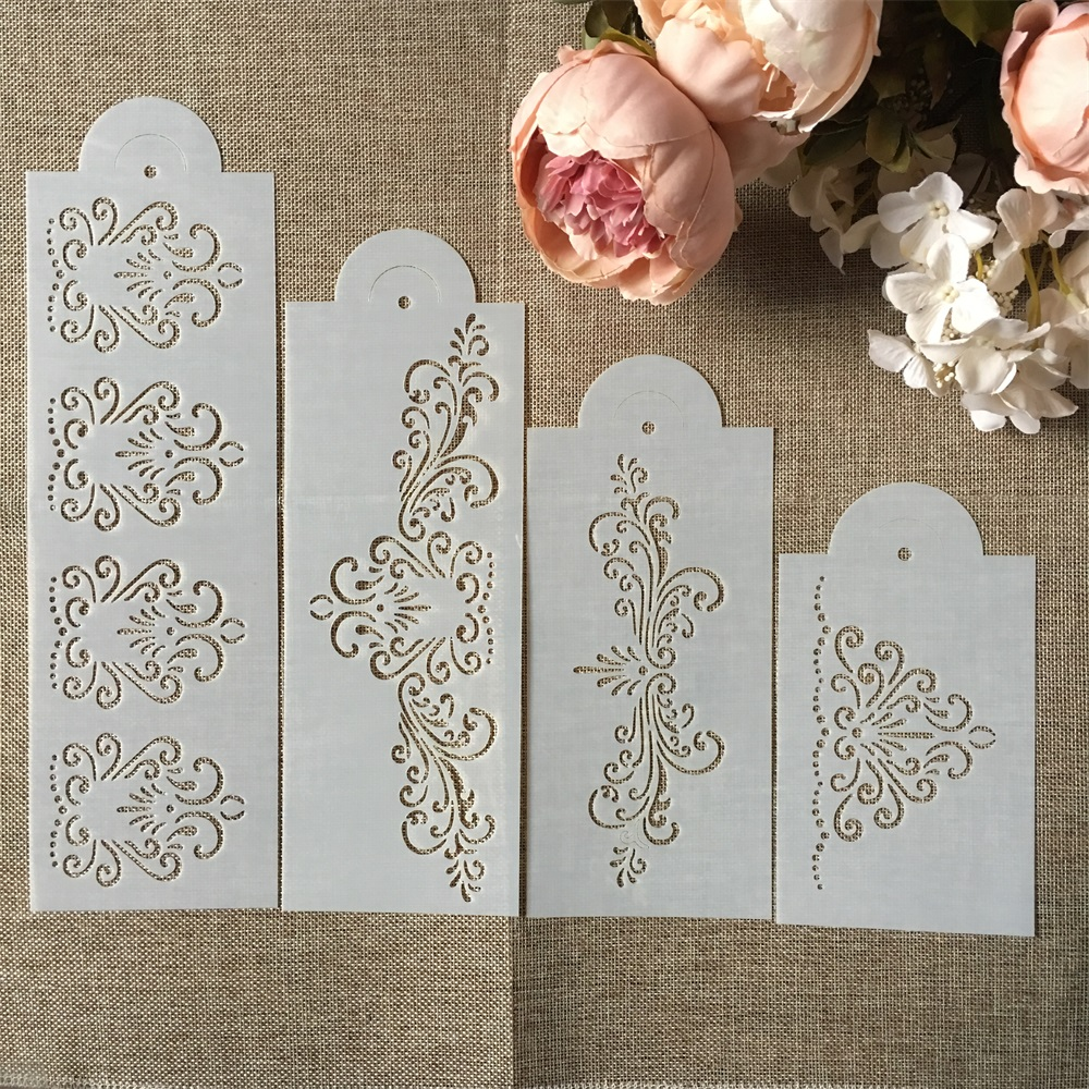 Hot 4Pcs/Set 33cm Flower Edge DIY Layering Stencils Wall Painting Scrapbook Coloring Embossing Album Decorative Template
