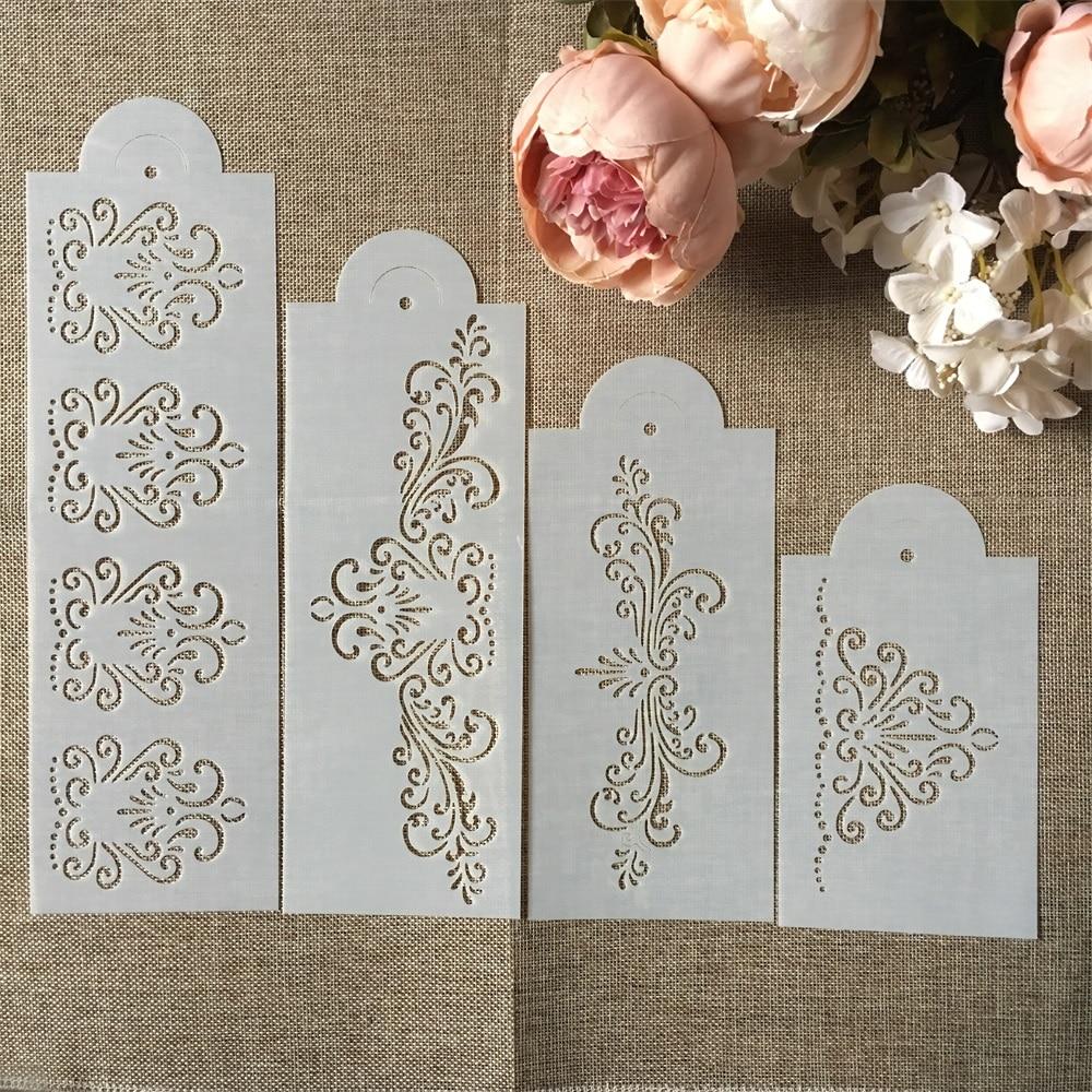 Hot 4Pcs/Set 33cm Flower Edge DIY Layering Stencils Wall Painting Scrapbook Coloring Embossing Album Decorative Template