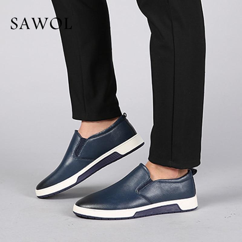 Sawol Black Slip Marque Printemps Grand Espadrilles Véritable Taille Hommes En Chaussures Appartements Automne Cuir Casual blue On brown Plus Split wCfqTPa