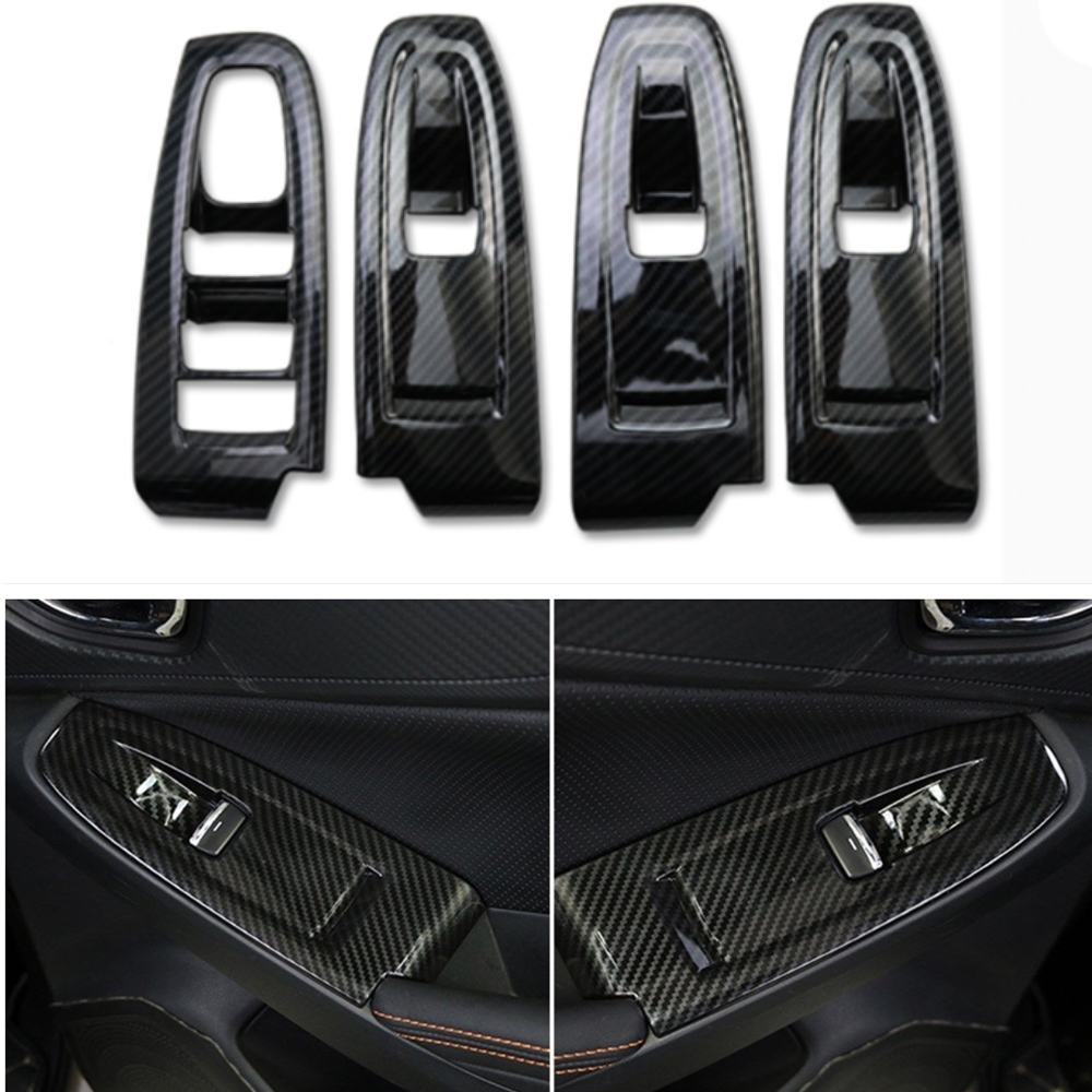 4Pcs Carbon Fiber Colros Car Interior Window Switch panel Decoration Cover Tirm For Subaru XV 2018 Car Styling Accessories Cover 3pcs car steering wheel button switch panel cover trim decoration carbon fiber for honda civic 2016 2017 car styling accessories