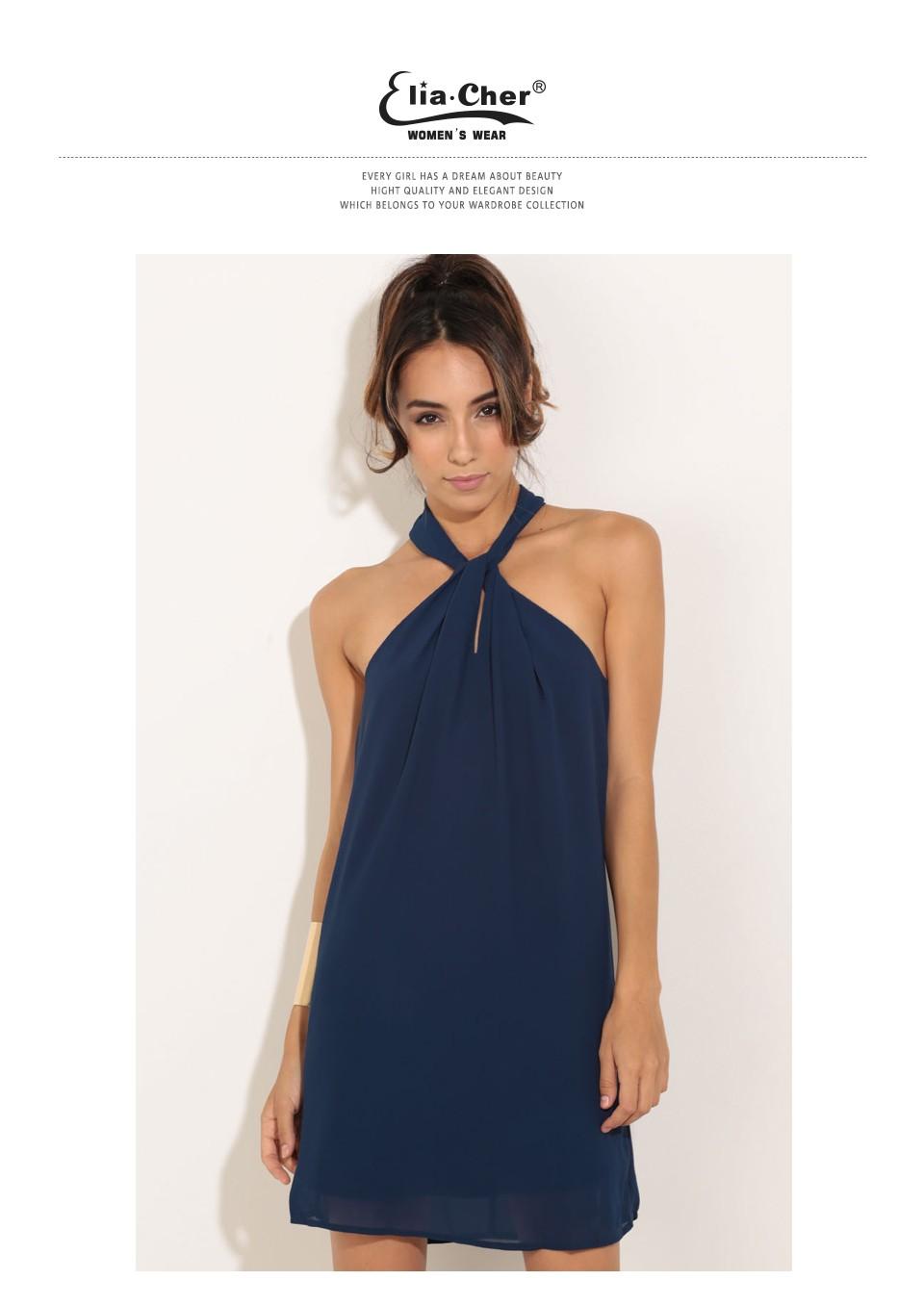 Women Chiffon Dress 17 Summer Dress Eliacher Brand Plus Size Chic sexy Sleeveless Evening Party Halter Shift Blue Dresses 1