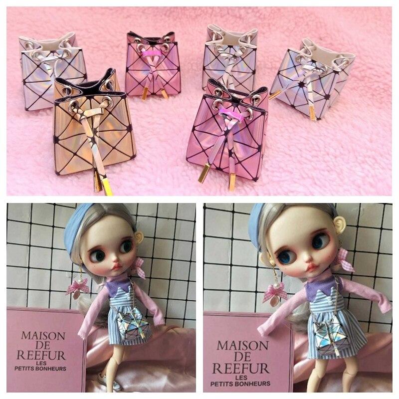 1pcs 4.5cm Fashion Dolls Handbag Pink Gold Plaid Laser Bag For Blyth OB24 Licca 1/6 Bjd Dolls Accessories Bags For Dolls