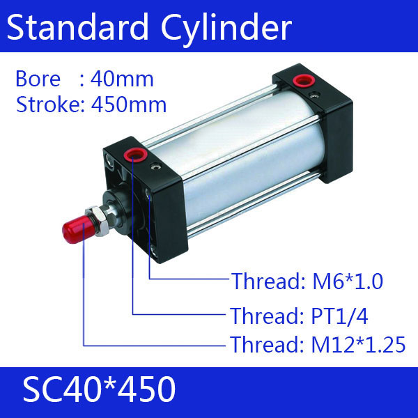 SC40*450  40mm Bore 450mm Stroke SC40X450 SC Series Single Rod Standard Pneumatic Air Cylinder SC40-450