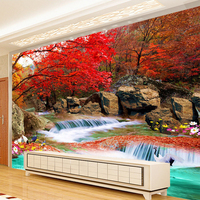 Chinese Style 3D Wall Mural Wall Paper Natural Landscape Xiangshan Red Leaves Crane Photo Wallpaper Mural 3D Room Landscape