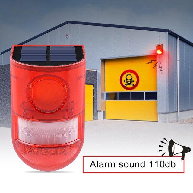 Солнечная сигнальная лампа 110 дБ, Предупреждение ющий звук 6 светодиодов, красный светильник IP65, водонепроницаемый датчик движения, предупреждающий светильник s для секретной стены склада