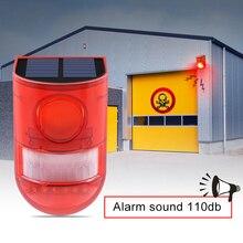 Güneş Alarm Lambası 110db Uyarı Ses 6led Kırmızı Işık IP65 Su Geçirmez Hareket Sensörü Uyarı Işıkları Depo Için Gizli Yer Duvar
