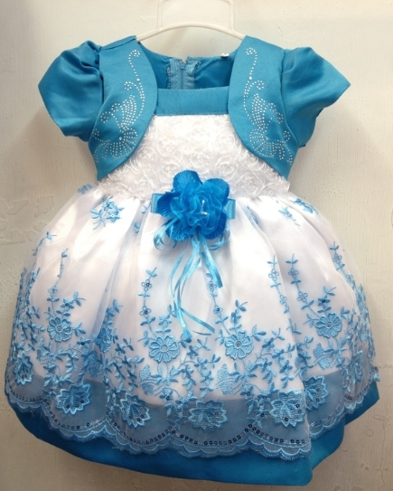 89ce629a024 Stylish Print Fashion Chiffon Lace Ball Gown Infant Baby Girls Blue Floral  Dress
