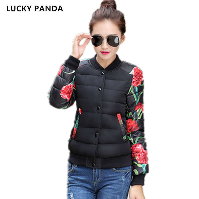Lucky Panda 2016 new autumn and winter short printing coat,fashion embroidery flowers thicking down cotton jacket LKP280